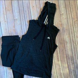 Adidas Gray sleeveless Hoodie Sz. S